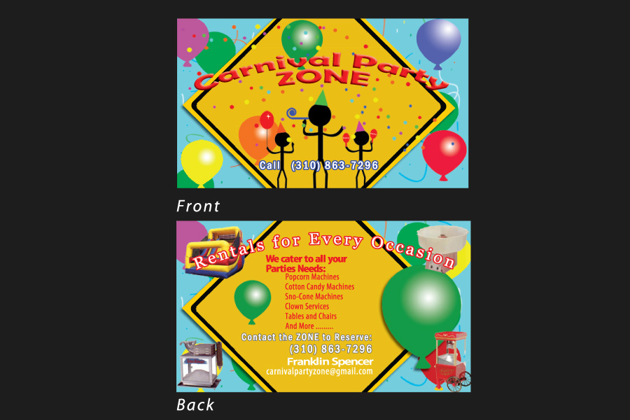 Business Card  for carnival party zone